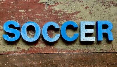 """Cool Vintage Cast Metal 1960s Original Marquee 3"""" Letters Spell SOCCER Sign"""