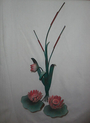 Home Interiors Green Metal & Pink Water Lily Wall Sconce  Gorgeous  SALE