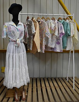 Job Lot 10 X Vintage Womens Summer Pastel Blouses Long And Short Sleeved