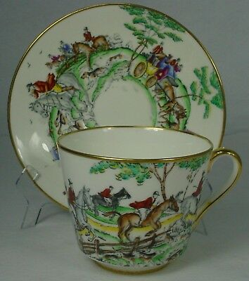 HAMMERSLEY china HUNT Coaching Scene pattern JUMBO CUP & SAUCER Set Cup 3-5/8""