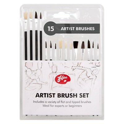 15 Pack Artist Painting Brushes Set Round And Flat Tip Brush Paint Makeup