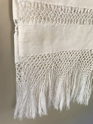 "HOMESPUN antique linen show towel  8"" HAND KNOTTED fringe 27""x38"" NU circa1900"