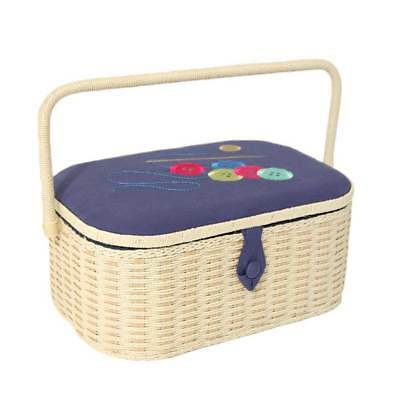 Large Embroidered Button Beige Sewing Box with Wicker Handle & Magnetic Clasp