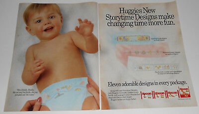 1991 vintage print ad - HUGGIES DIAPERS - BOYS GIRLS 2-PAGE ADVERT HER HIM kids