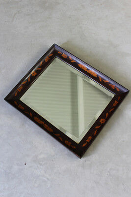 Antique Inlaid Floral Rectangular Dutch Marquetry Wall Mirror