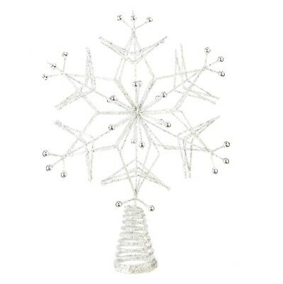 Glittered Silver Snowflake Treetop Decoration - Christmas Tree Topper Holiday...