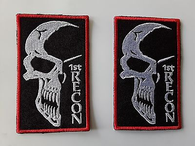 """2 pcs 1st RECON 1/2 SKULL EMB PATCHES SEW/IRON ON 3-1/4X2"""""""