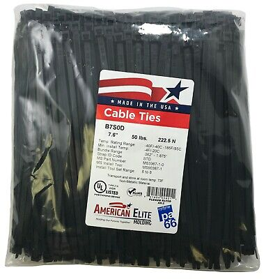 """(500) Black 7"""" Inch Nylon Cable Wire Wrap Zip Ties 50 LBS UV Resistant - USA"""
