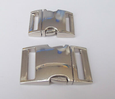 Silver Metal Side Release Buckle Dog Collars Bags 15mm 20mm 25mm