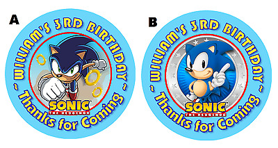 Sonic The Hedgehog Round Birthday Party Stickers Favors Labels ~ Various Sizes