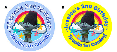 Branch Trolls Personalized Birthday Round Party Stickers Favors ~ Various Sizes