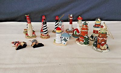 Vintage Lot of 14 Lighthouse Ornaments - Lefton, Adler, Midwest Cannon