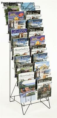 Tiered Black Wire Magazine Rack, Free Standing Floor Fixture 20 Stacked Pockets