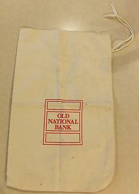 """Vtg Old National Bank Canvas Bag Red Lettering String Tie Size 11.5"""" By 19"""" Onb"""