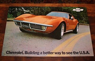 Vintage NOS 1972 CHEVROLET Corvette DEALERSHIP Chevy Dealer Showroom Poster