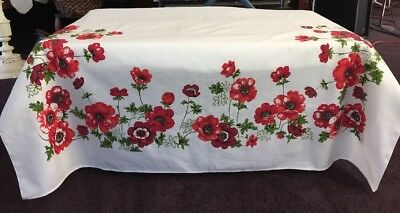 """Red Poppy Printed Linen Tablecloth Vintage 52X70"""" EUC"""