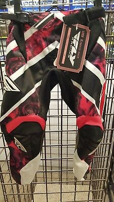 Fly Racing Youth Girls Kinetic Race Pants - Black/Pink Rose