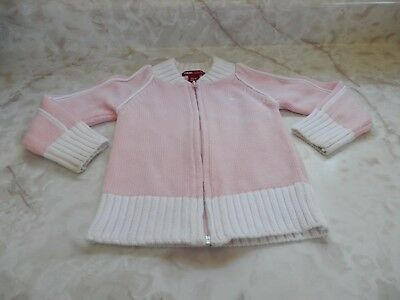 Baby Girl Size 2-3 Y H & M LOGG Pink White Zip Up Hooded Sweater