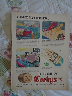 L36 Dec 1958 Corby's Canadian Whiskey Canada print ad advertisement Robot Boxing