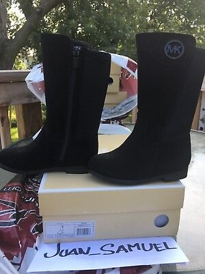 Michael Kors Emma Lily T Girls Suede Black Boots Youth Size 9 Little Girls Kids