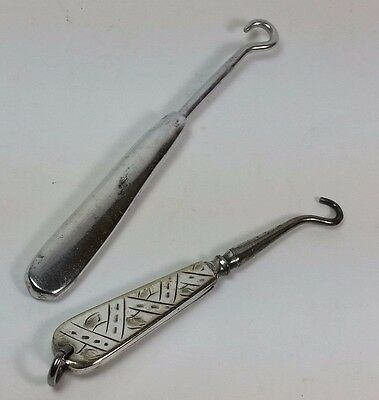 2 Rare Miniature Steel Handled Glove Button Hooks, Engraved Fob & Early Stratton