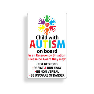 Child with Autism on board Sticker Car Window Bumper Vehicle Decal Safety 911