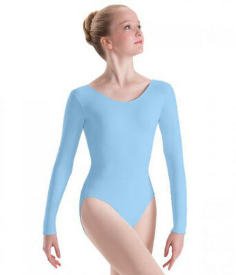 Body Wrappers BWC126 Girl's Intermediate (6x-7) Light Blue Long Sleeve Leotard