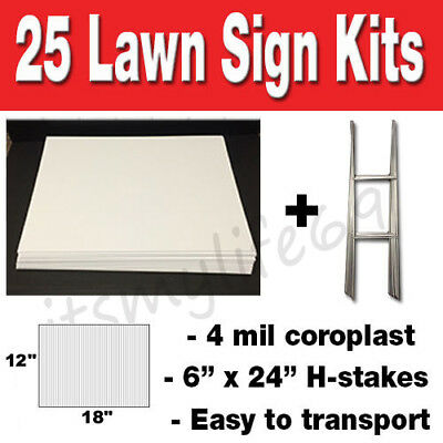 25 Pack Blank Yard Signs 12x18 with H-stakes for Garage Sales & Graduations!!