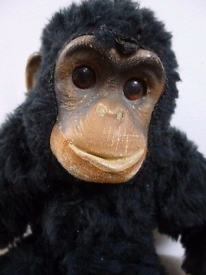 vintage collectible Deans toy black faux fur monkey 11.75 inch made in Britain