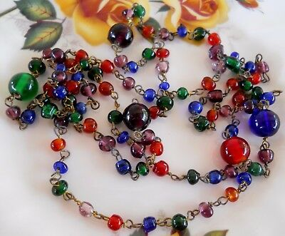 Beautiful Vintage Bohemian Glass Harlequin Colours Wired Bead Necklace
