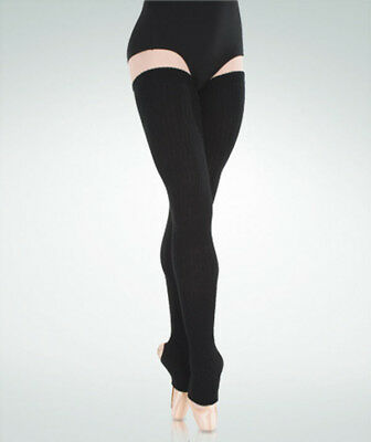 "Body Wrappers 92 Adult 48"" Black Extra Long Stirrup Leg/Thigh Leg Warmers"