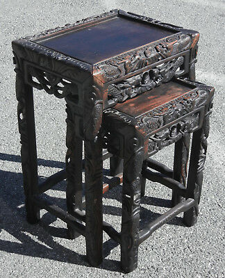 Pair Antique Chinese Carved Hardwood Tables Nesting