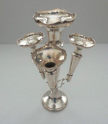 English Hallmarked Sterling Silver Art Deco 4-Lily or 4-Trumpet EPERGNE