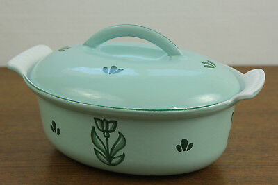 DRU Holland Cast Iron Enamel Green Tulip Casserole with Lid Vintage Small 4 Cup