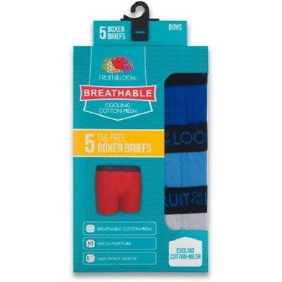 """Fruit of the Loom® Boys' Boxer Brief 5-pack """" Breathable Cotton Mesh & Cooling """""""