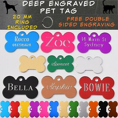 Traditional Deep Engraved Dog Bone Customised and Personalised Pet ID Name Tag