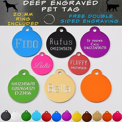 Round Pet ID Tag Deep Engraved & ring Dog Cat Name Tags Customised Name Tag