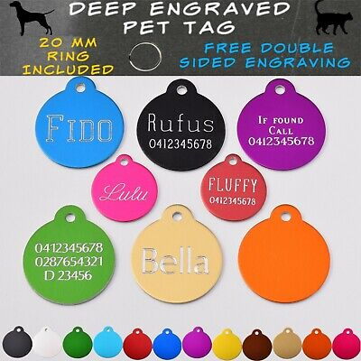 Traditional Deep Engraved Round Dog Cat Personalised Pet ID Name Tags - 2 Sides