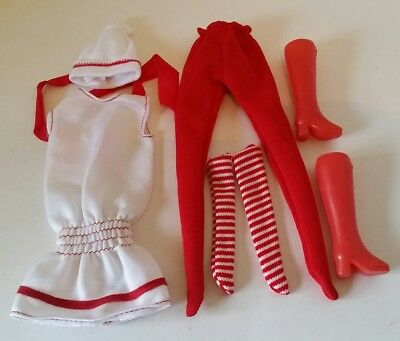 Vintage Barbie Doll Red & White Outfit Clothes Boots Striped Socks & Accessories