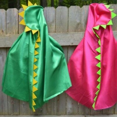 Kids Dinosaur Halloween Satin Cape Costume Party Fancy Dress Up Fun