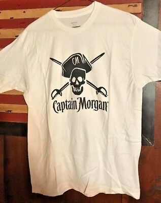 **new**captain Morgan Rum Shirt, White W. Large Skull/pirate, Mens Large, Soft!!