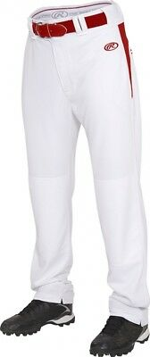 (2X, White/Scarlet) - Rawlings Youth Semi-Relaxed Pants with Waist Inserts