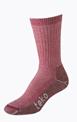 (Large, Red / White) - Teko Summit Series Womens Mid Hiking Socks. Free Delivery