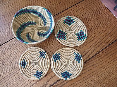 Handwoven Basket & 3 trivets from Tanzania~Africa~Free Shipping