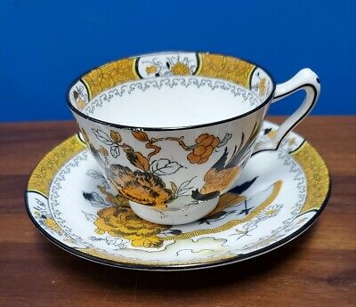 CROWN STAFFORDSHIRE china 9543 YELLOW & BLACK ROCK BIRD Cup & Saucer Set 2-1/8""
