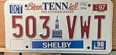 "1997-98 Tennessee License Plate "" Vfc"
