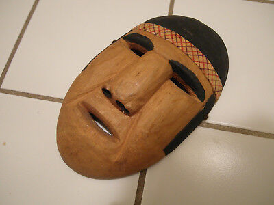 Rare Native American Creel Indian Hand Made Painted Wood Wooden Wall Mask Face