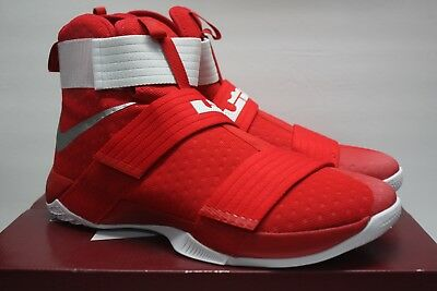 92ae481f087 Nike Lebron Soldier 10 Tb Promo Gym Red White Silver 856489 663 Size 16.5