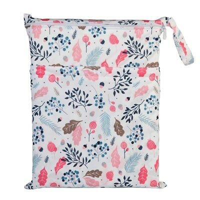 1 Wet Dry Bag Baby Cloth Diaper Nappy Bag Reusable With Two Zipper Pockets Girls