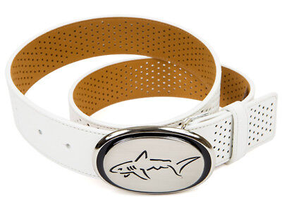 Greg Norman Branded Perforated Belt - White